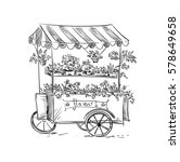 flower stall  florist cart.... | Shutterstock .eps vector #578649658