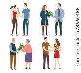 set of different age pairs. men ... | Shutterstock .eps vector #578660488