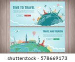 travel composition with famous... | Shutterstock .eps vector #578669173