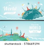 travel composition with famous... | Shutterstock .eps vector #578669194