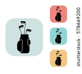 golf clubs in bag icon isolated ...