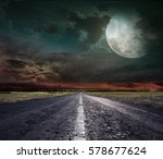 country road across the steppe | Shutterstock . vector #578677624