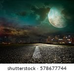 asphalt road leading into the... | Shutterstock . vector #578677744