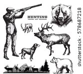 Hunting vector set.Hunter with dog and wildlife.   Shutterstock vector #578687218