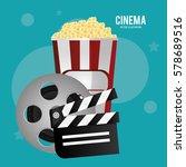 cinema reel film pop corn...   Shutterstock .eps vector #578689516