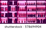 various alcohol bottles in a... | Shutterstock . vector #578694904