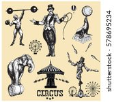 Circus and amusement vector illustrations set . Vintage style drawing | Shutterstock vector #578695234