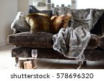 faux fur throws and cushions... | Shutterstock . vector #578696320