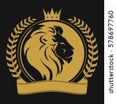 Lion Head With Crown  Laurel...