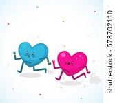 men vs women  cute hearts ... | Shutterstock .eps vector #578702110