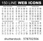 vector set of 150 flat line web ... | Shutterstock .eps vector #578702506
