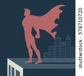 super hero atop a skyscraper.... | Shutterstock .eps vector #578710720