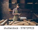 handsome cabinetmaker look at... | Shutterstock . vector #578729923