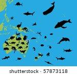 animal of australia and okeanii | Shutterstock .eps vector #57873118