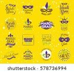 mardi gras typography set.... | Shutterstock .eps vector #578736994