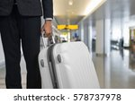 businessman and suitcase in the ... | Shutterstock . vector #578737978