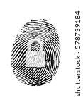 padlock on finger prints  on... | Shutterstock . vector #578739184