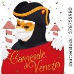 festive poster with venetian... | Shutterstock .eps vector #578753980