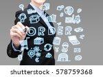 smart business woman is writing ... | Shutterstock . vector #578759368