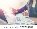 close up of woman hands using...   Shutterstock . vector #578763109