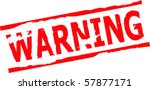 warning grunge stamp vector | Shutterstock .eps vector #57877171