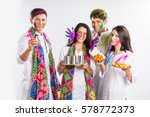 4 indian friends or 2 young... | Shutterstock . vector #578772373