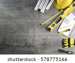 Contractor concept background. Top view. Place for typography. - stock photo