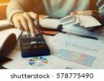 man calculate invoice and... | Shutterstock . vector #578775490