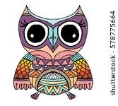 owls vector  doodle  freehand... | Shutterstock .eps vector #578775664