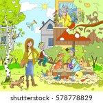 figure warm spring  summer day... | Shutterstock . vector #578778829