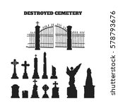 black silhouettes of tombstones ... | Shutterstock .eps vector #578793676