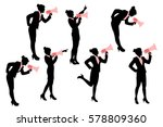 silhouette of business woman... | Shutterstock .eps vector #578809360