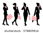 silhouette of business woman... | Shutterstock .eps vector #578809816