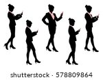 Silhouette Of Business Woman...