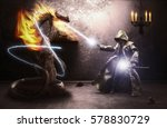 wizard casting a spell on a... | Shutterstock . vector #578830729
