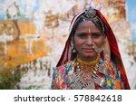 rajasthani woman   Shutterstock . vector #578842618