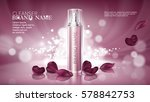 shiny pink background with... | Shutterstock .eps vector #578842753