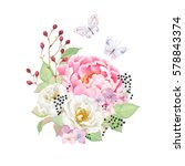 floral decor with flowers pink...   Shutterstock .eps vector #578843374