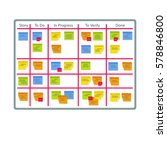 whiteboard with post it notes... | Shutterstock .eps vector #578846800