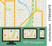 gps navigation mobile app with... | Shutterstock .eps vector #578846878
