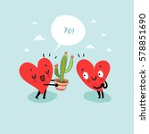 cute hearts characters. man... | Shutterstock .eps vector #578851690