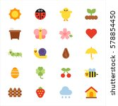 various nature icon sun insect... | Shutterstock .eps vector #578854450