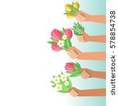 youth crowd hands holding... | Shutterstock .eps vector #578854738
