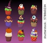 cupcake happy halloween scary... | Shutterstock .eps vector #578860234