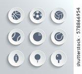 sport balls icon set   white...   Shutterstock . vector #578866954