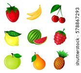fruits and berries icons or... | Shutterstock .eps vector #578867293