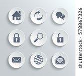 web icons set   white round...