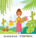 girl planting at the garden | Shutterstock .eps vector #578878834