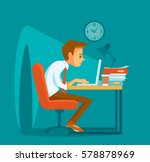 the man working late | Shutterstock .eps vector #578878969