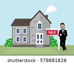 hipster real estate agent... | Shutterstock .eps vector #578881828